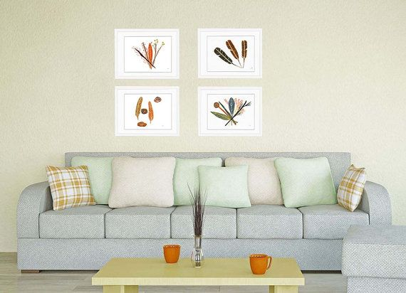 Set of 4 prints Botanical set prints nature wall art