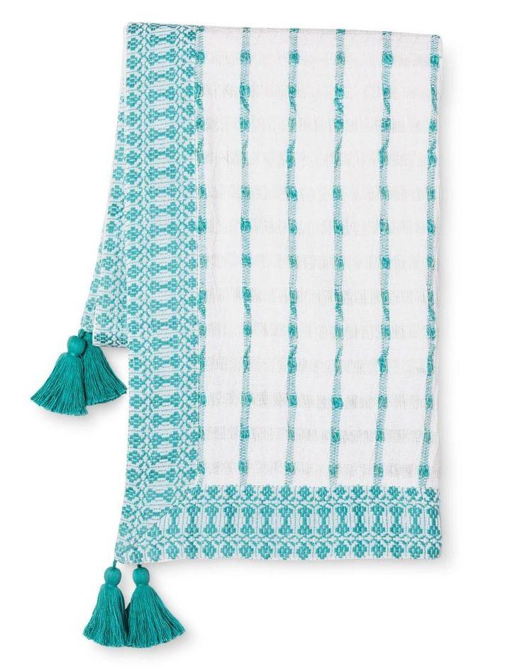 Threshold Yarn Dyed Stripe Tassel Throw Blanket in Turquoise
