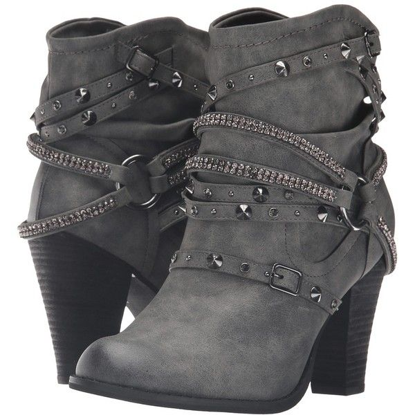 Not Rated Swazy (Grey) Women's Boots (535 DKK) ❤ liked on Polyvore featuring shoes, boots, ankle booties, ankle boots, bootie boots, gray boots, strappy booties and grey bootie