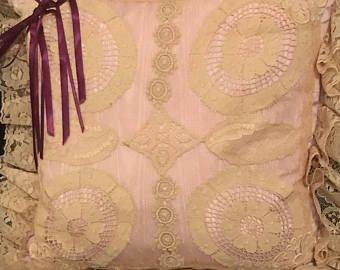 Vintage Pillow Pink Lacy Victorian Throw Beige Lace With  Lacy Ruffle Trim