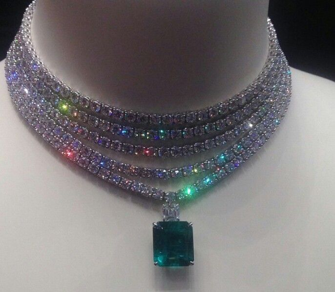 GABRIELLE'S AMAZING FANTASY CLOSET | Adler Multiple strands of Diamonds with an Important Emerald Pendant.