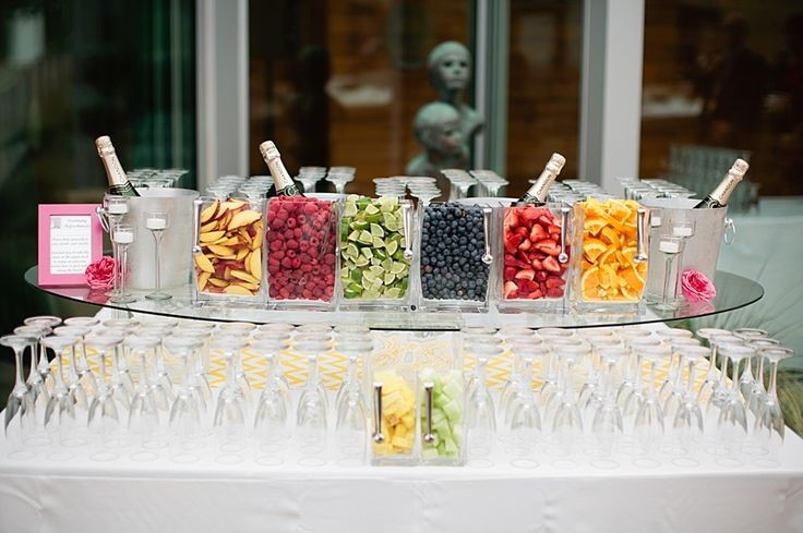 Champagne bar! Bridal shower. maybe add some decorative pitchers of orange juice, peach juice, etc... to make mimosas or bellinis!!