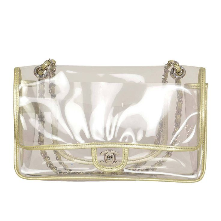 Chanel 2006 2008 Clear Plastic Flap Bag W Silver Piping