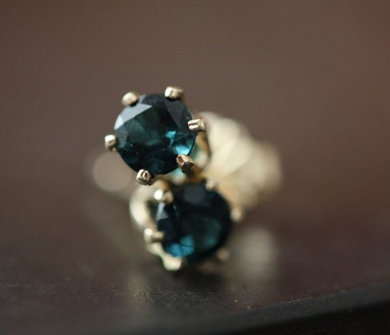 Blue Sapphire Stud Earrings in 14kt Gold as seen on A by LexLuxe, $168.00; last lexluxe shout-out.  I love their earrings!!