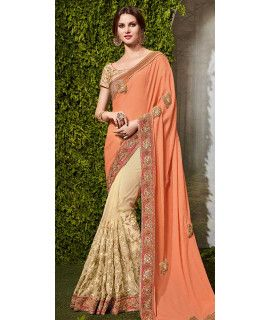 Mustard Orange And Beige Chiffon Saree.