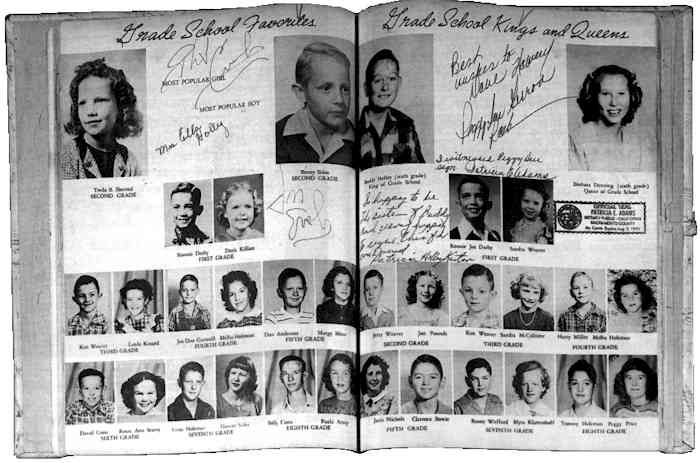 This rare 1949 Lubbock High School 'Eagle' Yearbook shows Buddy Holly pictured in the sixth grade and as 'King of Grade School'. The page is signed by Don and Phil Everly, his wife Maria Elena Holley, and sister Patricia Holly Kaiter, and Peggy Sue. The book has a hardbacked lined and embossed cover.
