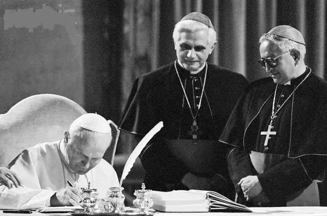 Three popes. One photo. Pope John Paul II, along with future Pope Benedict XVI and future Pope Francis. Amazing image!