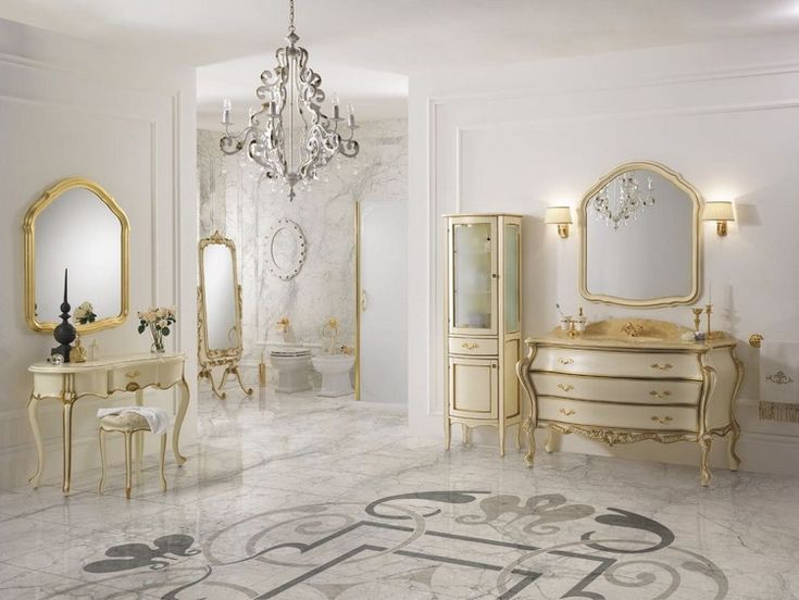 Salle De Bain Baroque En Marbre Console Et Armoire Blanc