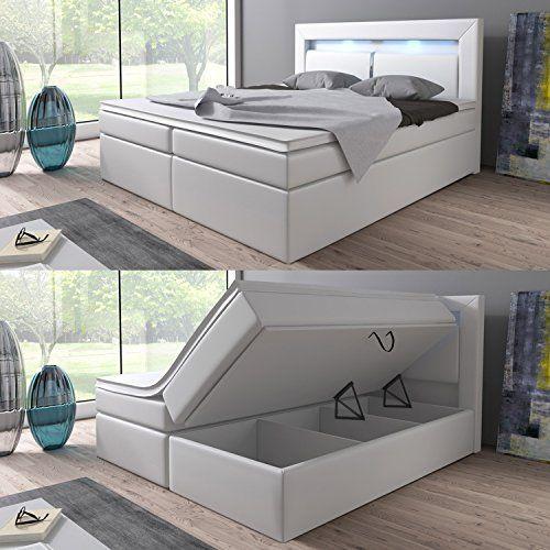 Produktbild (1) Boxspringbett 160x200 Weiß mit Bettkasten LED Kopflicht Hotelbett Brüssel Lift