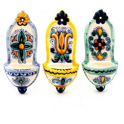 TOSCANA: Mini Holy Water holders (Set of three ) (Pre holed for easy wall-hung