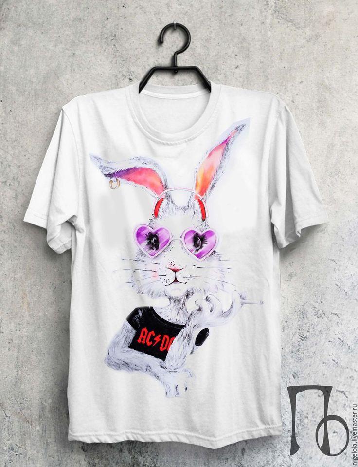Купить Футболка. Ручная роспись футболок - комбинированный, футболка, футболка с рисунком, собака, мишка, зайка