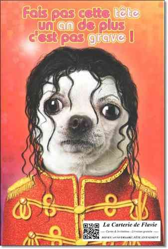 Carte anniversaire Pets Rock Michael Jackson