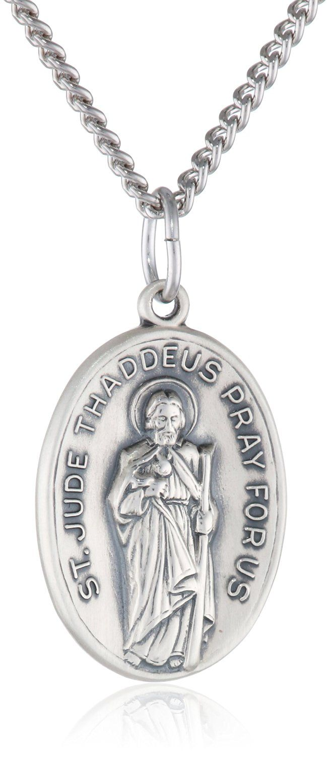 Sterling Silver Oval Saint Jude Medal with Antique Finish and Stainless Steel Chain, 20' >>> Want to know more, click on the image.