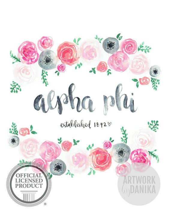 For all the A Phi ladies out there looking for a pretty way to display her greek letters! This Alpha Phi print features a hand-painted wreath of pink flowers as well as the year the sorority was founded. If you want to make any modification to this alpha phi print, send me a message or use the custom order button and we can talk about creating something special, just for you :)  * * * Product Details Printed on high quality satin-finish photo paper or museum-quality semi board, this design…