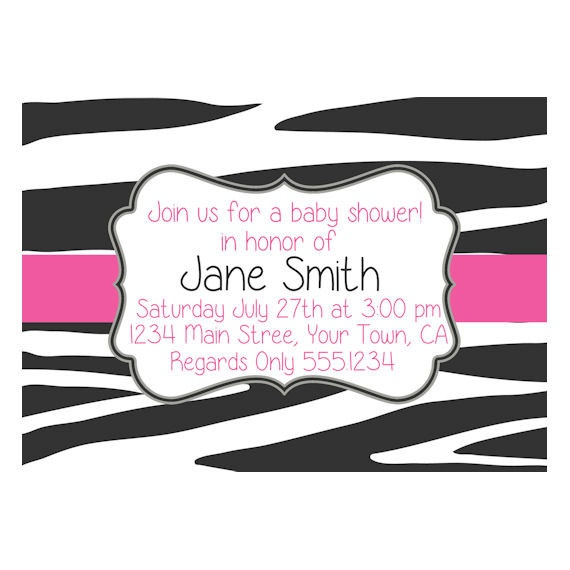 Pink zebra print baby shower invitation includes free for Zebra print and red bathroom ideas