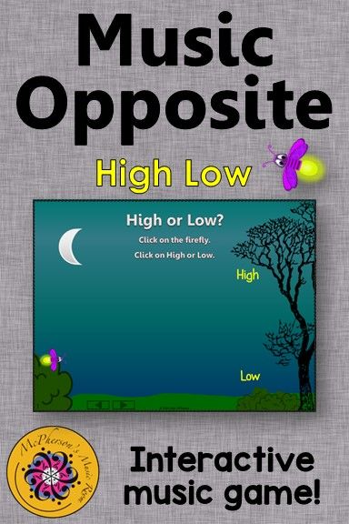Music Game! Your elementary music students will fall in love with this interactive music game! Perfect anytime you are working on music opposites high low!