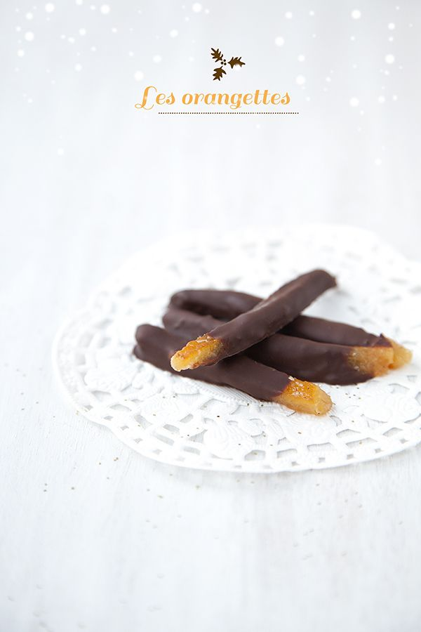 Orangettes - A delicious French Christmas edible gift - French candied orange peels dipped in dark chocolate. Orange and chocolate work beautifully together. You can keep some  candied orange peels intact to be used in creating mendiants see @croquemaman recipe.