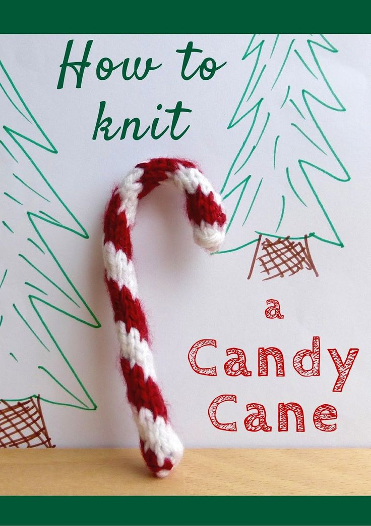 How to Knit a Candy Cane - free two color spiral in the round candy cane pattern photo tutorial by Yarn Birdy