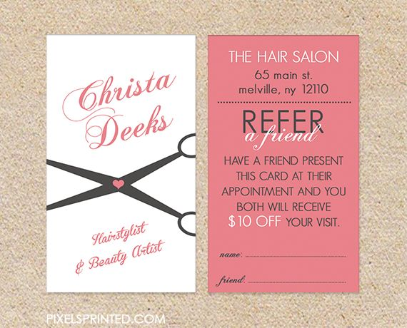 35 best referral cards images on pinterest referral cards salon hair salon referral cards hairstylist referral cards referral cards for hair salons referral colourmoves Image collections