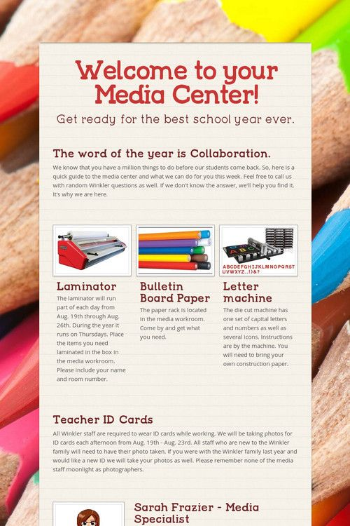 Online flyer sent to teachers to tell them the most important facts in a quick way as they came back to school.  Smore.com is an AASL best site