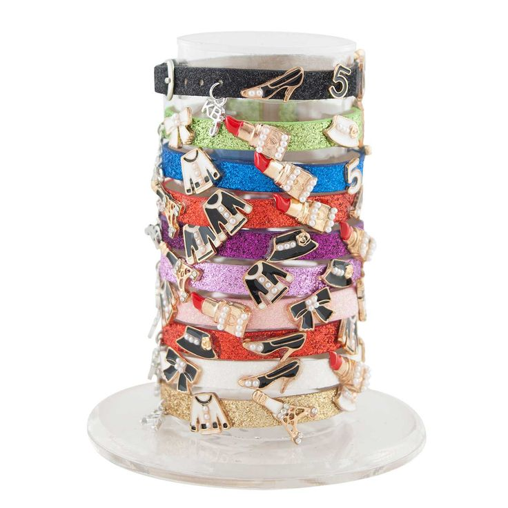 GLITTER BRACELET WITH COCO CHARMS ASSORTED. SIZABLE. MADE IN ITALY NEW COLLECTION 2015