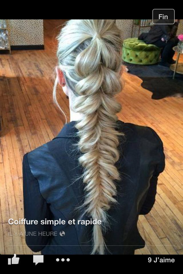 Grosse tresse en pi de bl  Mariage en 2019  Pinterest  Coiffure Cheveux et Coiffure natte