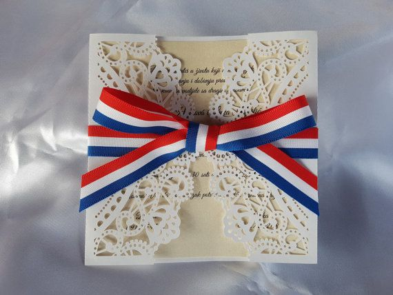 Croatian Wedding Invitation with a Lace Design and Red White Blue Ribbon, 10 Pieces
