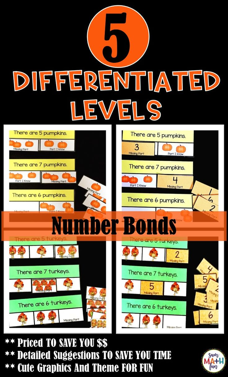 Fall Activities: Number Bonds Composing and Decomposing Numbers -I love this for teaching number bonds! It's simple and easy to use with fun and engaging activities and worksheets. It makes decomposing numbers so easy to understand and is really easy to use with my small groups! These number bond activities are completely scaffolded for easy differentiation and student understanding. #numberbonds #fallmath #fallactivitiesforkids #fallactivities #composingnumbers #decomposingnumbers…