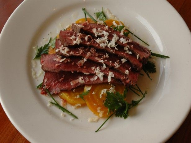 Grilled Beef Heart with Roasted Golden Beets and Horseradish from CookingChannelTV.com