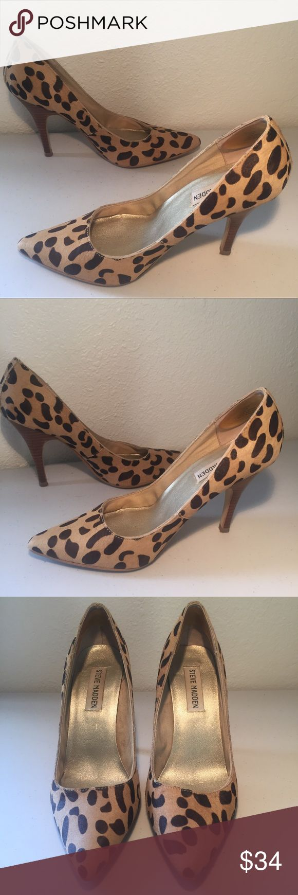 """Leopard Stilettos Leopard print stilettos with calf hair/leather upper by Steve Madden. Worn maybe once! I added silicone heel pads and they are yellowing, but comfy so I left them in. Also, there is an unidentifiable colored spec on the top edge of the toe opening on one shoe- hard to describe the location and the mark is tiny. I tried to take a photo. Size 6.5. 4"""" heel. Fun and sexy! Steve Madden Shoes Heels"""
