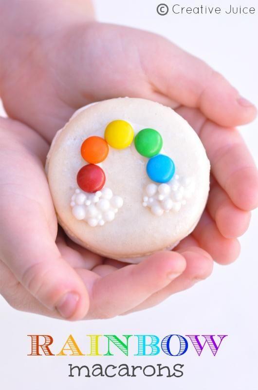 Rainbow Macarons  Dekoration für kleine Zitronen-Muffins.