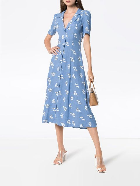 a851bf9a664 Reformation Clarice Floral Print Buttoned Dress - Farfetch