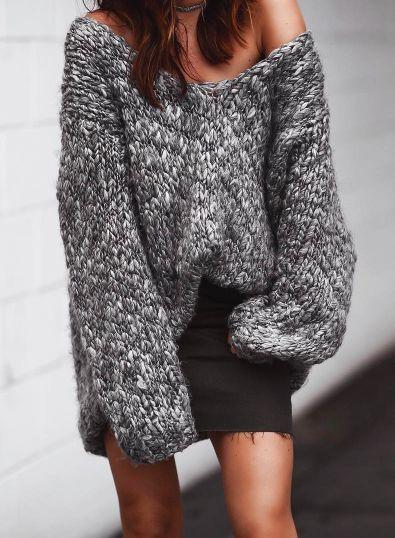 oversized sweater + denim skirt
