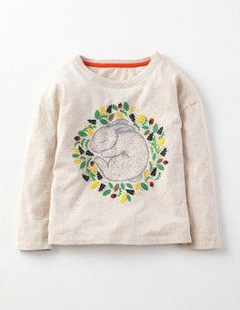 Oatmeal Marl Bunny Woodland Nesting T-shirt Boden