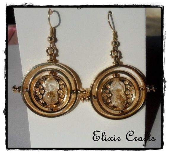 Hermiones Time Turner Earrings Pair  Rotating Harry Potter inspired Jewelry  with real, working Hourglass