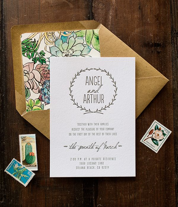 Spring Floral Wedding Invitations: http://ohsobeautifulpaper.com/2015/04/angel-arthurs-spring-floral-wedding-invitations/ | Design: Wide Eyes Paper Co. | Photo: Let's Frolic Together