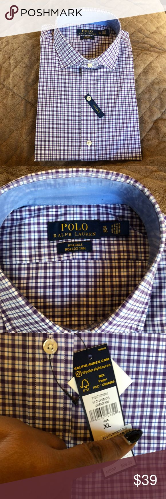 POLO RALPH LAUREN MENS SHIRT Checkered shirt consist of purple, navy & white colors. Size XL. MENS. 100% cotton with stretch. Polo by Ralph Lauren Shirts Dress Shirts