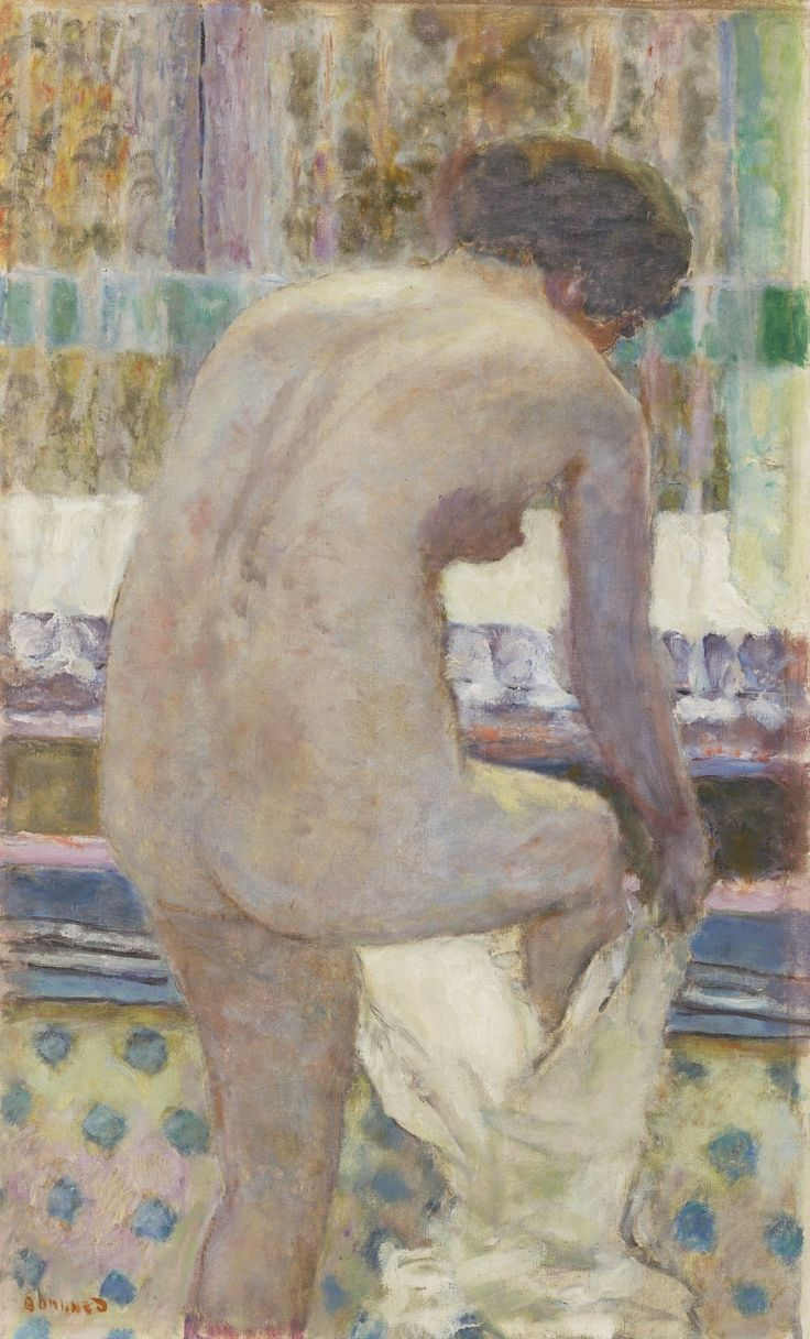 Pierre Bonnard 1867 - 1947 NU S'HABILLANT Signed Bonnard (lower left) Oil on canvas 29 by 17 3/4 in. 74 by 45 cm Painted in 1925: