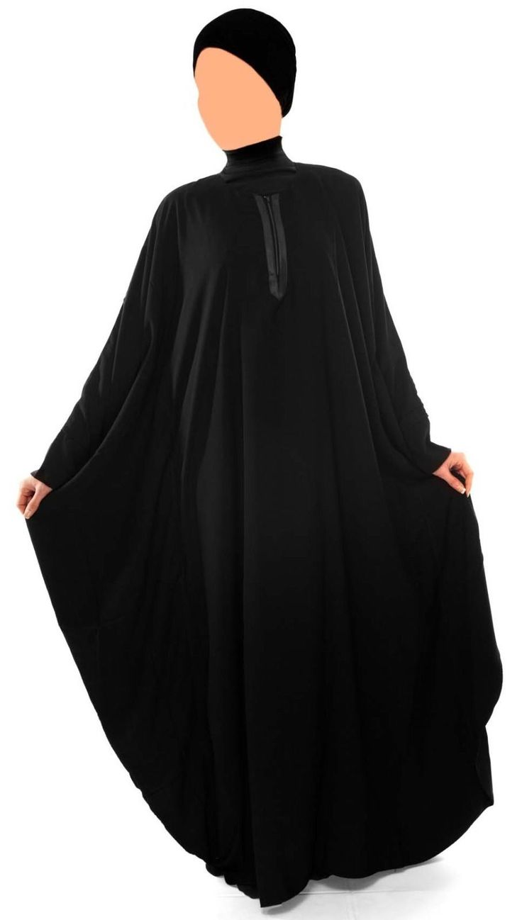 BUTTERFLY BLACK ABAYA LONG DRESS ISLAMIC MUSLIM WOMENS WEAR A simple yet stylish take on the classic butterfly abaya. This abaya is complete with feminine waterfall sleeves, a soft v neckline and flowly fabric. It comes with a waist belt to accentuate the butterfly shape.
