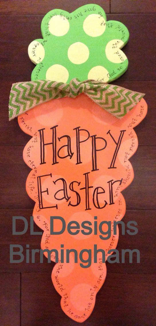 Happy Easter Carrot door hanger by DLDesignsBirmingham on Etsy, $35.00