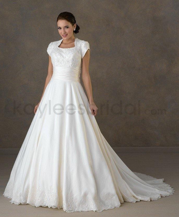 Taffeta Modified Queen Anne Neckline Covered Empire Bodice A-line Wedding Dress