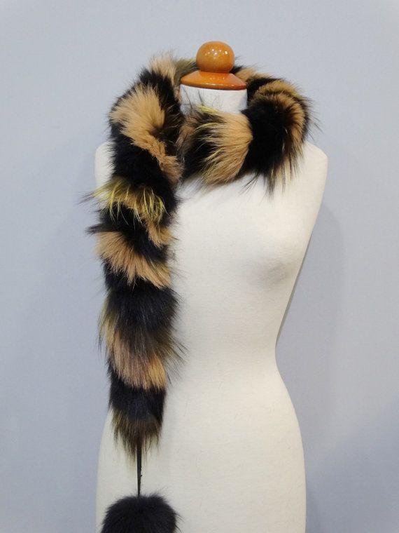 Fur pom pom scarfReal fox fur scarfScarf with Pom by FilimegasFurs