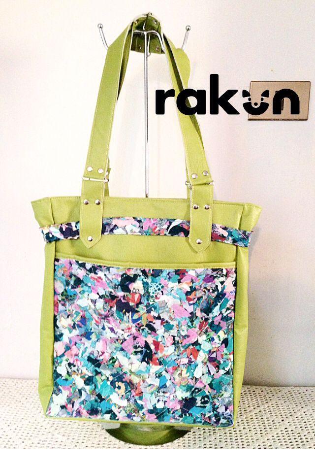 Bolso eco cuero con bolsillo realizado en Ecotex, nuestra tela 100% hecha a mano de residuos textiles  www.facebook.com/rakun.dt