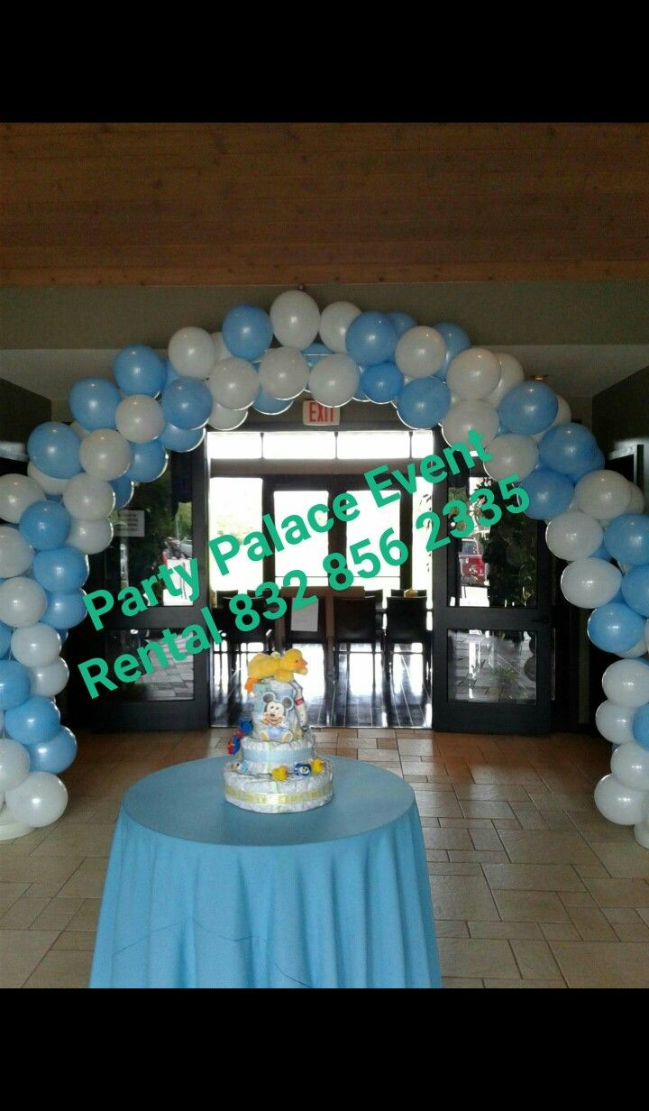 Party Place Event Rental 832 856 2335 Baby Mickey Baby Shower Balloon Arch  And Diaper Cake