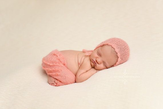 Peach Ruffles Mohair Pants and Hat Set by BeautifulPhotoProps
