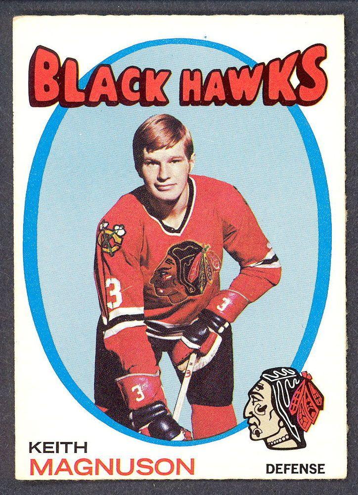 1971 72 Topps 69 KEITH MAGNUSON EX-NM CHICAGO BLACK HAWKS HOCKEY CARD #ChicagoBlackhawks