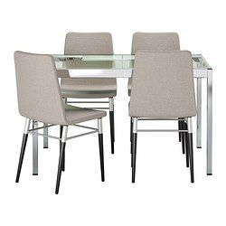 glivarp preben table and 4 chairs clear ten light gray ikea