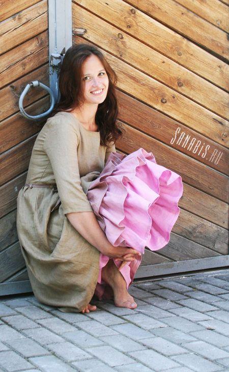 """Многослойное платье из льна """"Чайная роза"""" ~ Sanabis.ru"""