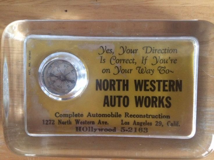 1940's 50's glass paper weight NORTH WESTERN AUTO WORKS LOS ANGELES 29 compass  | eBay