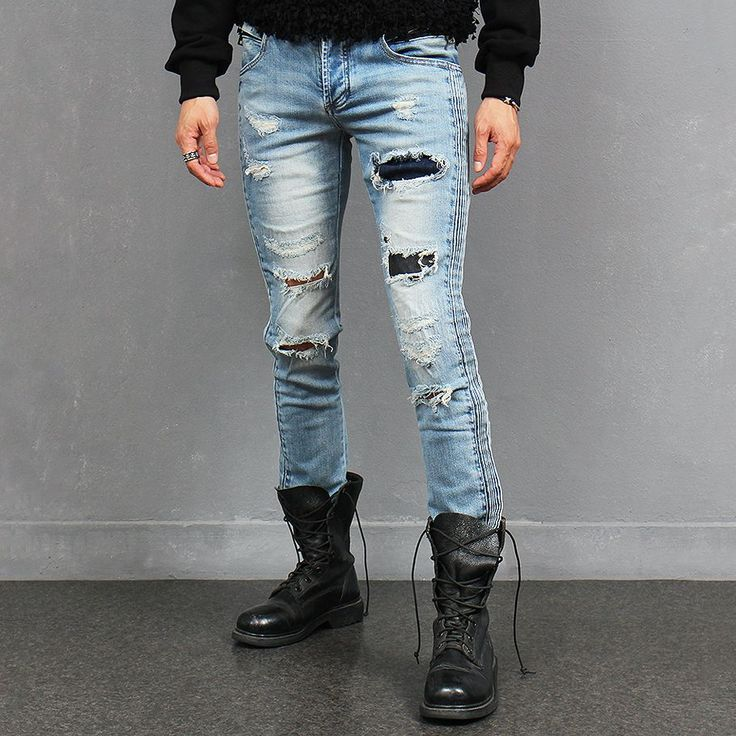 The product Side Ribbed Vintage Ripped Faded Blue Slim Jeans Streetwear Denim is sold by SNEAKERJEANS STREETWEAR SHOP & SNEAKERS SHOP in our Tictail store.  Tictail lets you create a beautiful online store for free - tictail.com